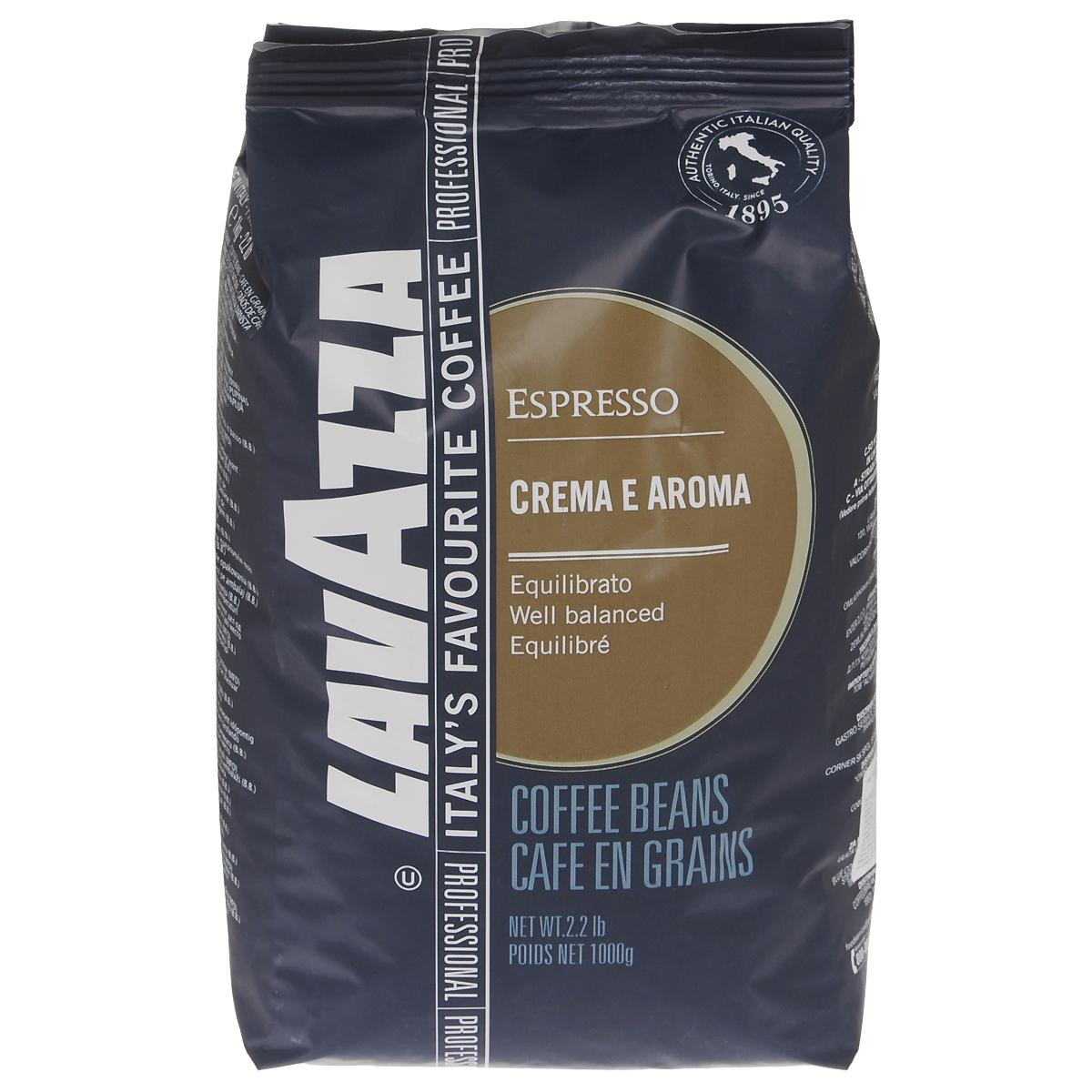 Lavazza Crema e Aroma Espresso кофе в зернах, 1 кг8000070124905Lavazza Crema e Aroma Espresso - это кофейная смесь с плотной «крема» и сильным характером, с приятным послевкусием сухих фруктов, горького шоколада и ценных пород дерева, которые напомнят вам о выдержанном марочном вине.