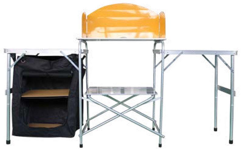 Кухня кемпинговая Woodland Camping Kitchen, складная, 145 x 45,5 x 80 см0042667Кемпинговая складная кухня Woodland Camping Kitchen предназначена для создания комфортных условий в туристических походах, охоте, рыбалке и кемпинге. Особенности: Компактная и легкая складная конструкция. Прочный алюминиевый каркас. Материал столешницы - МДФ. Удобная ручка для переноски. Максимально допустимая нагрузка на стол 30 кг.