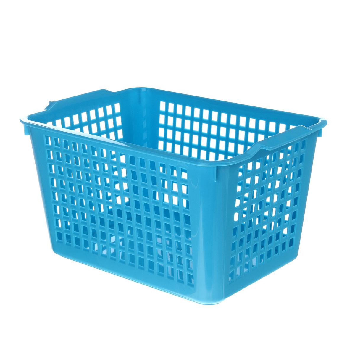 Корзинка Econova, цвет: голубой, 27 х 19 х 14,5 см718341Корзинка Econova, изготовленная из высококачественного прочного пластика, предназначена для хранения мелочей в ванной, на кухне, даче или гараже. Изделие оснащено двумя удобными ручками. Это легкая корзина со сплошным дном, жесткой кромкой и небольшими отверстиями позволяет хранить мелкие вещи, исключая возможность их потери.