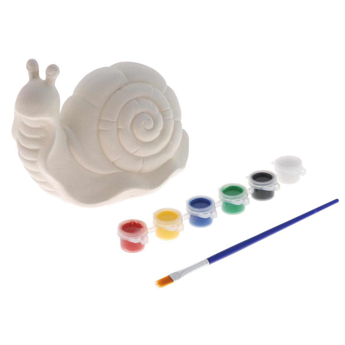 Набор для раскрашивания фигурки Premier УлиткаBA101387Набор для раскрашивания фигурки Premier Улитка состоит из керамической фигурки, кисти и красок шести цветов (красный, желтый, синий, зеленый, белый, черный). С таким набором ваш ребенок сможет сам раскрасить фигурку, как ему захочется. Цвета можно смешивать и получать новые. Такой набор, несомненно, порадует вашего ребенка и принесет массу положительных эмоций, а также поможет развивать творческие способности. Размер фигурки (ДхШхВ): 15 см х 9 см х 12 см. Длина кисти: 17,5 см. Количество красок: 6.