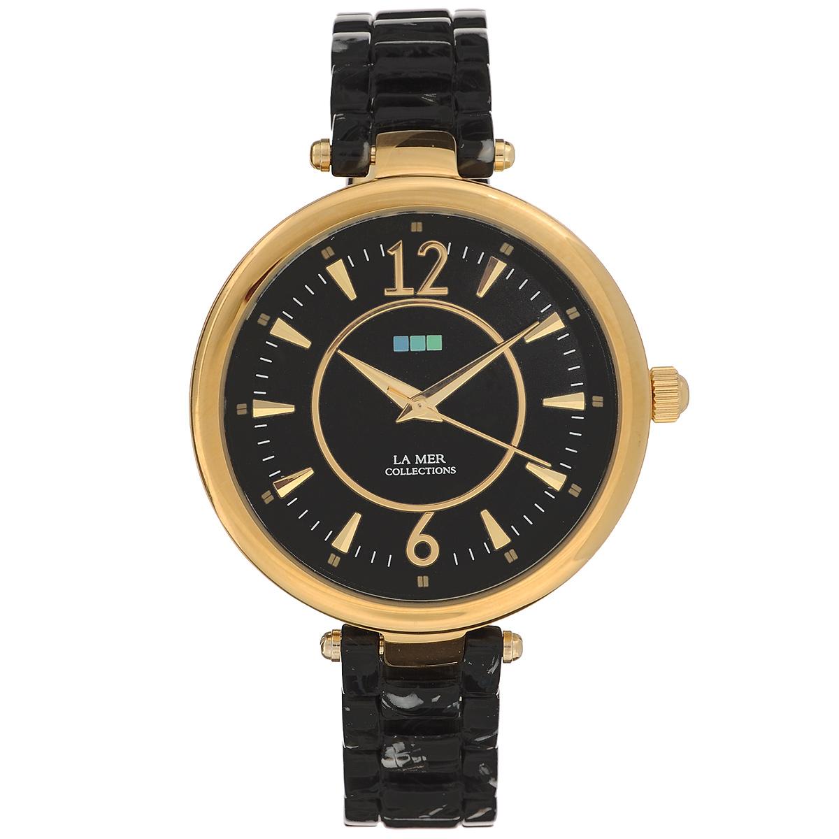 Часы наручные женские La Mer Collections Gold Black/Silver Black Dial. LMSICILY005LMSICILY005Женские наручные часы La Mer Collections позволят вам выделиться из толпы и подчеркнуть свою индивидуальность. Часы оснащены японским кварцевым механизмом Seiko. Браслет часов состоит из пластика и застегивается на застежку-бабочку. Корпус часов изготовлен из сплава металлов, золотистого цвета. Циферблат оснащен часовой, минутной и секундной стрелками и защищен минеральным стеклом. Часы хранятся на специальной подушечке в футляре из искусственной замши, крышка которого оформлена логотипом компании La Mer Collection. Размер циферблата: 43 х 30 х 8 мм. Длина ремешка: 130 мм. Не содержат никель. Не водостойкие. Собираются вручную в США.