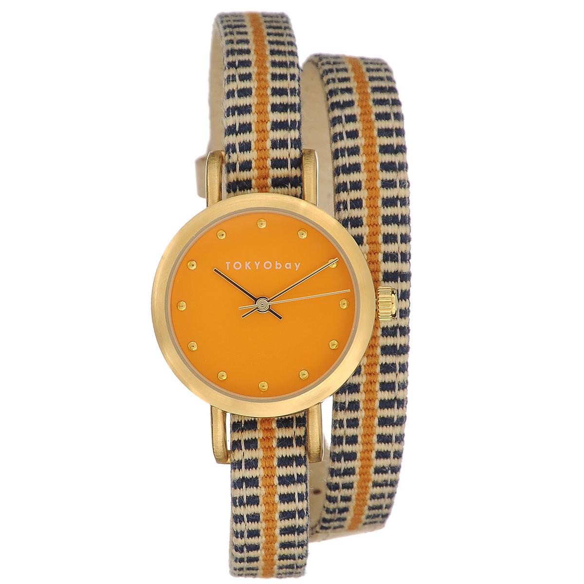 Часы женские наручные Tokyobay Obi, цвет: оранжевый, синий, бежевый. T233-ORT233-ORНаручные часы Tokyobay Obi - это стильное дополнение к вашему неповторимому образу. Эти часы созданы для современных девушек, ценящих стиль, качество и практичность. Часы оснащены японским кварцевым механизмом Miyota. Корпус круглой формы выполнен из сплава металлов, не содержащего никель. Задняя крышка изготовлена из нержавеющей стали. Циферблат оформлен металлическими отметками, имеет три стрелки - часовую, минутную и секундную. Циферблат защищен ударопрочным оптическим пластиком. Ремешок выполнен из натуральной кожи и плотного текстиля, застегивается на классическую застежку. Часы Tokyobay - это практичный и модный аксессуар, который подчеркнет ваш безупречный вкус. Характеристики: Корпус: 2,2 х 2,2 х 0,7 см. Размер ремешка: 37 х 0,8 см. Не содержит никель. Не водостойкие.