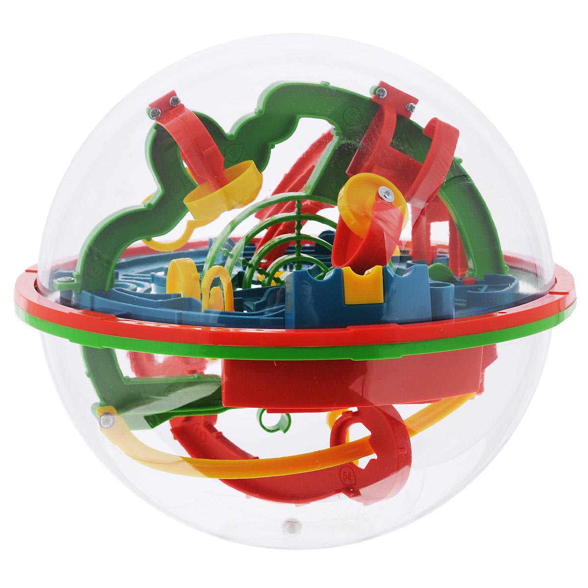Игрушка-головоломка Bradex Шар-лабиринтDE 0033Игрушка-головоломка Bradex Шар-лабиринт понравится вашему ребенку и надолго займет его внимание. Она представляет собой прозрачную сферу, внутри которой проложен сложнейший лабиринт, который включает в себя множество переходов, барьеров, препятствий. Основная цель - путем вращения сферы необходимо провести металлический шарик по лабиринту, следуя нумерации, чтобы в итоге он попал в небольшое ведерко в центре сферы. Внутри головоломки есть около 100 препятствий, преодолеть которые совсем нелегко. Протяженность лабиринта - 7 метров! В отличие от привычных плоских лабиринтов, эта игрушка развивает пространственное мышление и видение, ведь шарик постоянно перемещается из одной плоскости в другую, рискуя на каждом этапе упасть, вынуждая начинать заново. Игрушка развивает у детей пространственное мышление, а также такие важные в современном мире качества, как моторика и усидчивость. Яркое и красочное оформление, безусловно, привлечет вашего ребенка к этой игрушке и вызовет...