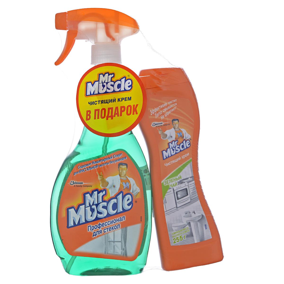 Чистящее средство для стекол Mr. Muscle, с нашатырным спиртом, 500 мл + ПОДАРОК: Чистящий крем Mr. Muscle Зеленый чай, универсальный, 250 мл673789Благодаря входящему в состав нашатырному спирту, чистящее средство Mr. Muscle эффективно удаляет грязь, жир, сажу, минеральные масла, придает блеск и не оставляет разводов. Идеально подходит для мытья оконного, витринного автомобильного стекол, зеркал, кафеля, внешних панелей электробытовых приборов, хромированных поверхностей, поверхностей из нержавеющей стали. Средство не нужно смывать водой. К чистящему средству для стекол Mr. Muscle прилагается ПОДАРОК: Чистящий крем Mr. Muscle Зеленый чай, универсальный. Мощная формула чистящего крема Mr. Muscle Зеленый чай легко расщепляет самые трудновыводимые загрязнения, такие как пригоревший жир на кухне и налет в ванной. Легко смывается после применения и не оставляет разводов. Крем бережно очищает поверхности, возвращая им первоначальный блеск, и дарит вашему дому восхитительный аромат свежести. Объем средства для стекол: 500 мл. Объем чистящего крема: 250 мл.