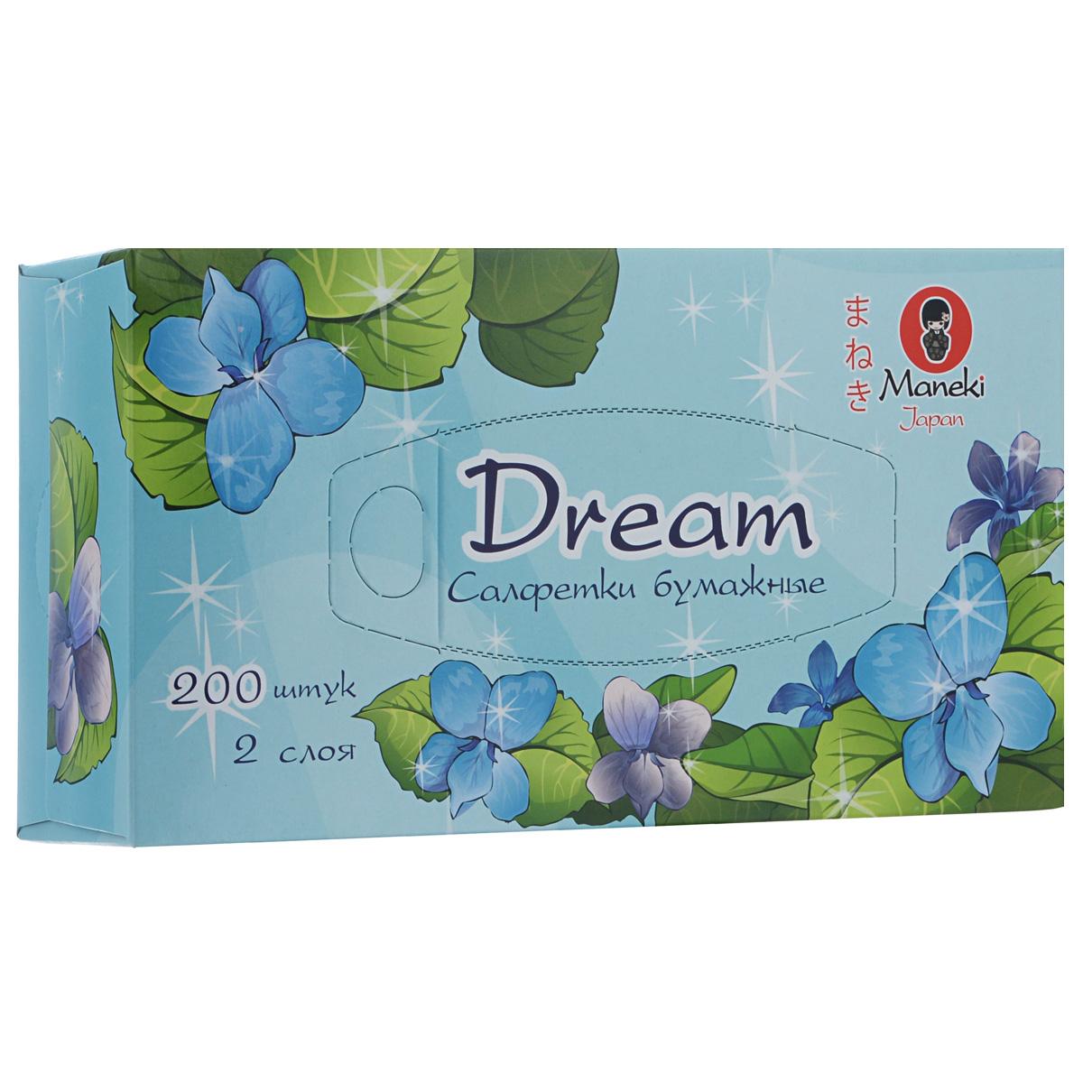 Maneki Салфетки бумажные Dream, двухслойные, цвет: голубой, 200 штFT135/36360050Двухслойные бумажные салфетки Maneki Dream, выполненные из натуральной экологически чистой целлюлозы, подарят превосходный комфорт и ощущение чистоты и свежести. Салфетки упакованы в коробку, поэтому их удобно использовать дома или взять с собой в офис или машину. Не содержат хлор.