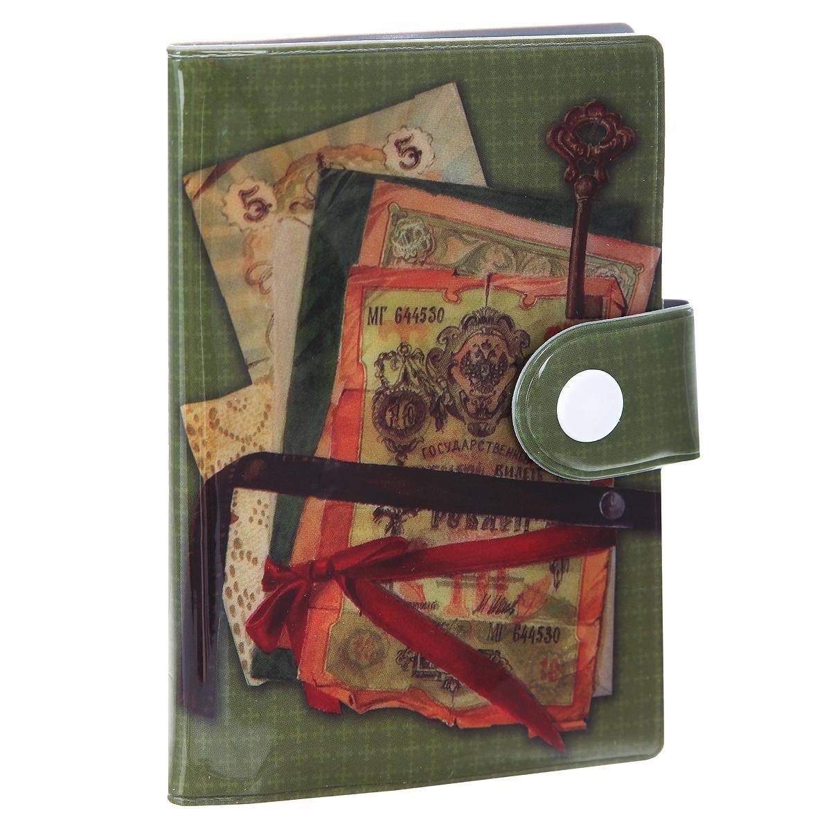 Визитница Банкноты. 37739/5037739Компактная вертикальная визитница Банкноты - стильная вещь для хранения визиток. Обложка визитницы имеет закругленные края и оформлена оригинальным изображением старинных банкнот на зеленом фоне. Закрывается при помощи хлястика на кнопку. Внутри - блок из прозрачного мягкого пластика на 10 визиток, который крепится к корпусу визитницы. Стильная визитница - это не только практичная вещь для хранения пластиковых карт, но и модный аксессуар, который подчеркнет ваш неповторимый стиль. Такая красочная визитница станет прекрасным подарком для любителей оригинальных и практичных вещиц.