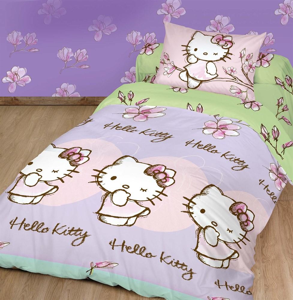 Комплект детского постельного белья Hello Kitty Магнолия, цвет: розовый, зеленый, 3 предмета. 180499180499