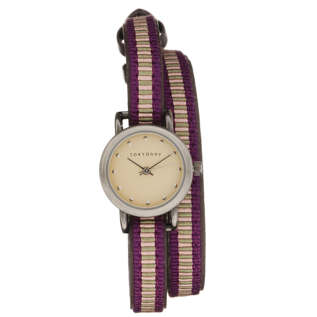 Часы женские наручные Tokyobay Nishiki, цвет: фиолетовый, бежевый. T266-LIT266-LIНаручные часы Tokyobay - это стильное дополнение к вашему неповторимому образу. Эти часы созданы для современных женщин, ценящих стиль, качество и практичность. Часы оснащены японским кварцевым механизмом Miyota. Задняя крышка изготовлена из нержавеющей стали. Корпус изготовлен из металла. Циферблат оформлен металлическими отметками, без цифр, имеются часовая, минутная и секундная стрелки. Ремешок выполнен из кожи и нейлона, застегивается на классическую застежку-пряжку. Часы Tokyobay - это практичный и модный аксессуар, который подчеркнет ваш безупречный вкус. Характеристики: Корпус: 2,2 х 2,2 х 0,7 см. Размер ремешка: 37 х 0,8 см. Не содержит никель. Не водостойкие.