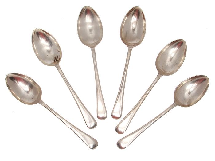 Набор десертных ложек, 6 шт. Металл, глубокое серебрение. Bergil, Великобритания, первая половина ХХ века