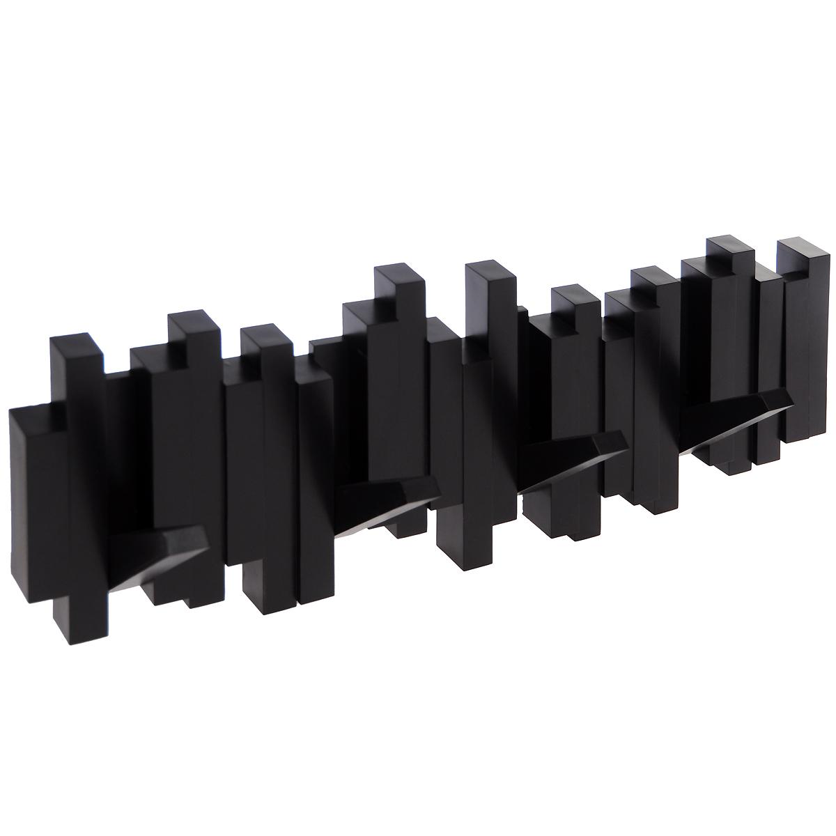Вешалка настенная Umbra Sticks, цвет: шоколадный, 5 крючков318211-213Стильная и прочная вешалка Umbra Sticks интересной формы и оригинального дизайна изготовлена из прочного пластика. Имеет 5 откидных и прочных крючков. Когда они не используются, то складываются, превращая конструкцию в плоский декоративный элемент стильной формы. Вешалка Umbra Sticks идеально подходит для маленьких прихожих и ограниченных пространств. Каждый крючок выдерживает вес до 2,3 кг. Размер вешалки: 50 см х 17 см х 2 см.