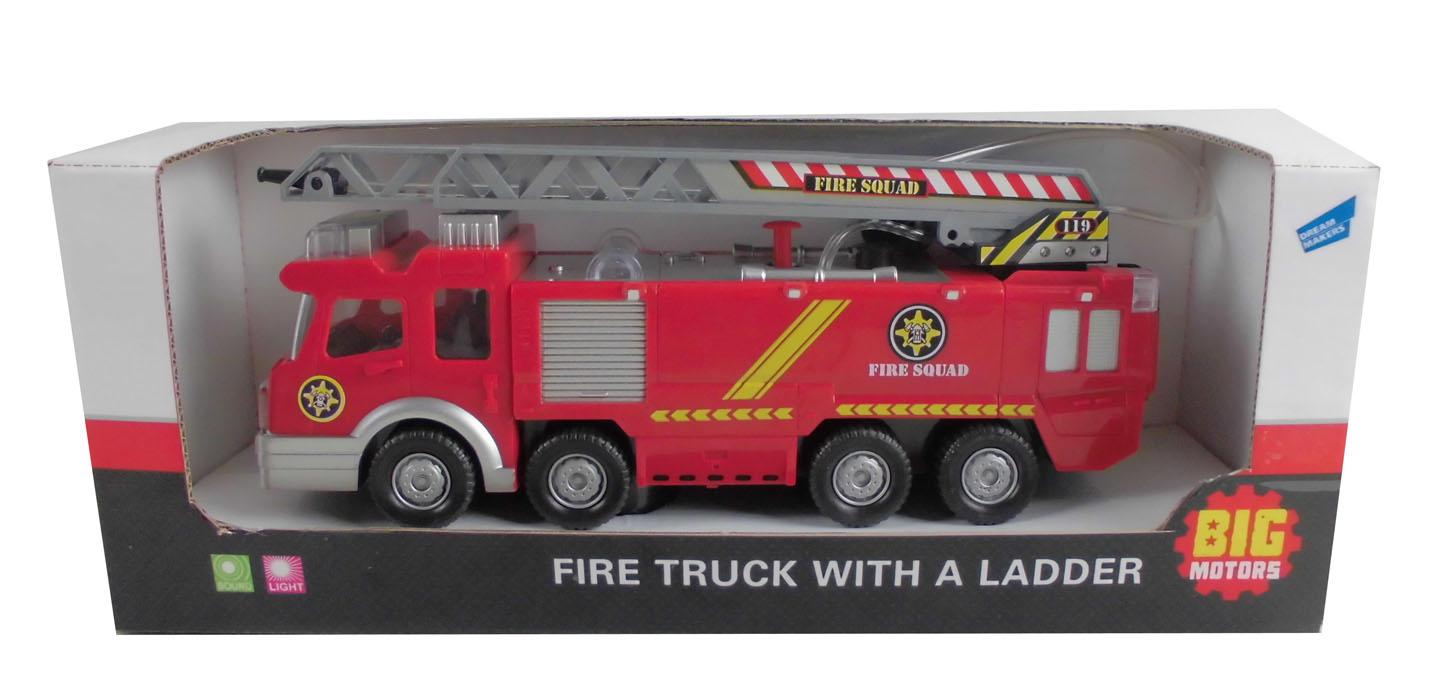 Пожарная машина с лестницейSY732Функционал: звук, свет, двигается с механизмом удар-разворот, брызгается водой с помощью ручного насоса, выдвигается/поворачивается лестница (рукой). Используется 3 батарейки АA (не входят в комплект)