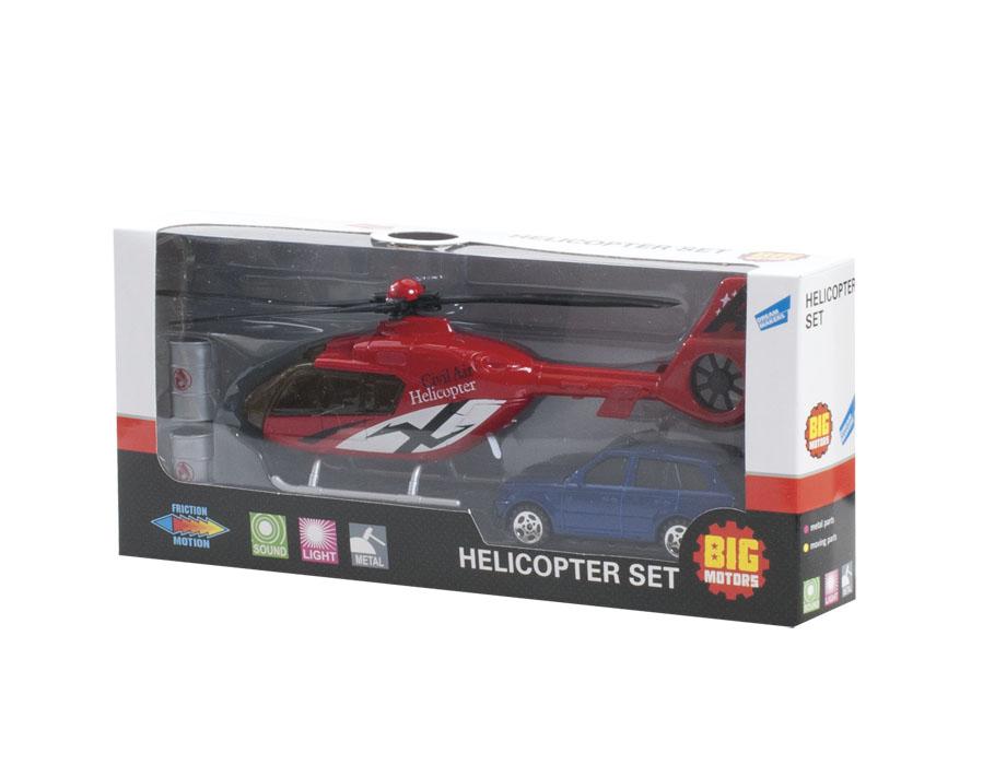 Big Motors Игровой набор Вертолет и машина цвет черный серый ( 22990-81009-2;JL81009-2 )