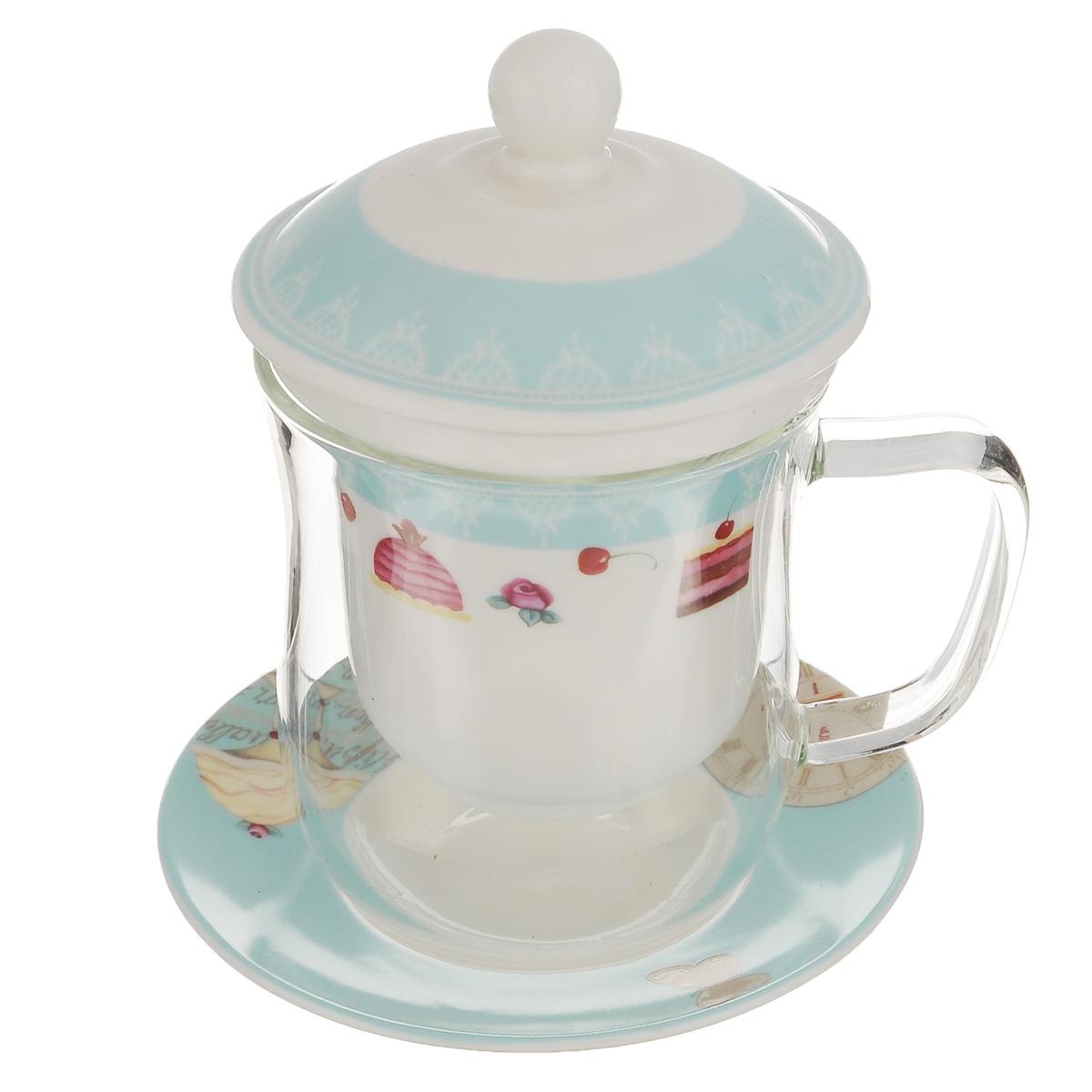 Чайная пара Korall Десерт, цвет: белый, бирюзовый, 4 предмета790388Чайная пара Korall Десерт состоит из кружки с крышкой и фильтром и блюдца. Кружка изготовлена из жаропрочного стекла, которое хорошо удерживает тепло. Кружка снабжена фарфоровой крышкой и колбой-фильтром для заварки. Колба оформлена ярким принтом и оснащена маленькими отверстиями, что предотвращает попадание чаинок и листочков в настой. Блюдце выполнено из фарфора и оформлено оригинальным изображением. Набор идеально подойдет для чая и придется по вкусу и ценителям классики, и тем, кто предпочитает утонченность и изысканность. Объем кружки: 400 мл. Диаметр (по верхнему краю): 8.5 см. Высота кружки: 10 см. Высота фильтра: 8 см. Диаметр крышки: 9,5 см. Диаметр блюдца: 12,5 см.