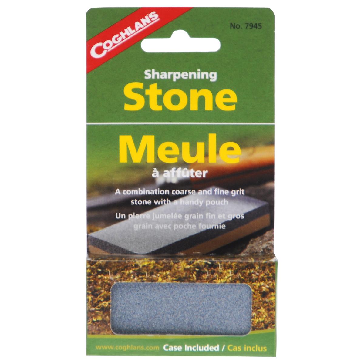 Камень точильный Coghlans, двухсторонний, с футляром, 7,5 см х 3,5 см7945Двухсторонний точильный камень Coghlans предназначен для правки ножей. Имеет две поверхности с разной зернистостью абразива: P120 (серая сторона) для предварительной заточки и P400 (бежевая сторона) для финишной доводки. Благодаря этому точильный камень сочетает в себе сразу 2 инструмента для заточки. Изделие имеет малые вес и размер, что очень удобно в походе. В комплекте - виниловый футляр. Размер точильного камня: 7,5 см х 3,5 см х 1 см. Размер футляра: 9,5 см х 6,2 см.