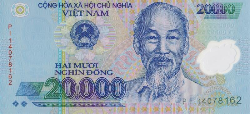 Банкнота номиналом 20000 донгов. Полимер. Вьетнам. 2014 год401306Размер 13,2 x 6,5 см.
