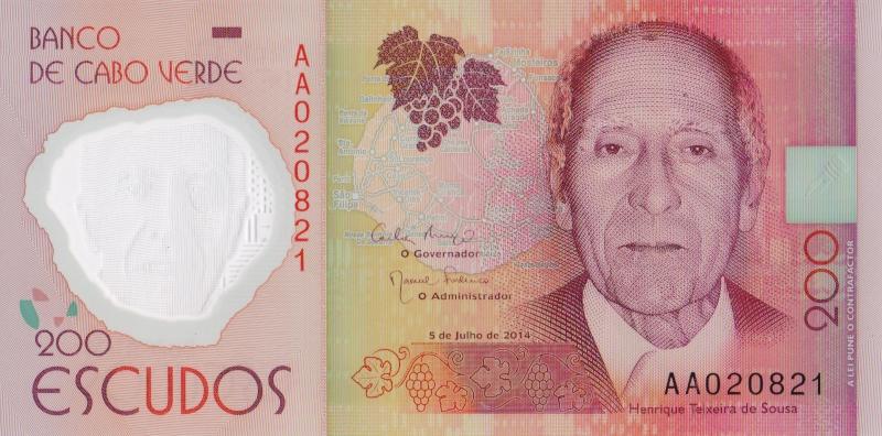 Банкнота номиналом 200 эскудо. Полимер. Кабо Верде. 2014 год401306Размер 12,4 x 6,2 см.