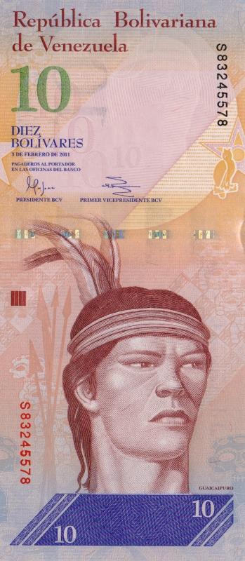 Банкнота номиналом 10 боливаров. Венесуэла. 2011 год401306Банкнота номиналом 10 боливаров. Венесуэла. 2011 год. Размер 15,6 x 6,9 см. Сохранность превосходная.