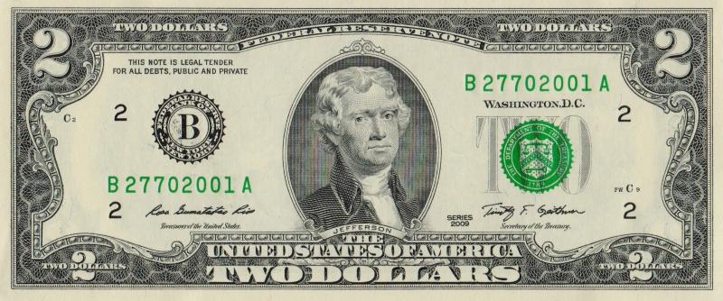 Банкнота номиналом 2 доллара. США. Нью-Йорк. 2009 год401306Размер 15,6 x 6,6 см.