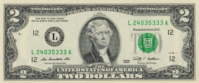 Банкнота номиналом 2 доллара. США. Сан-Франциско. 2009 год401306Размер 15,6 x 6,6 см.