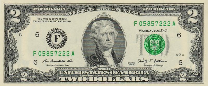 Банкнота номиналом 2 доллара. США. Атланта. 2009 год401306Размер 15,6 x 6,6 см.