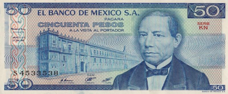 Банкнота номиналом 50 песо. Мексика. 1981 год
