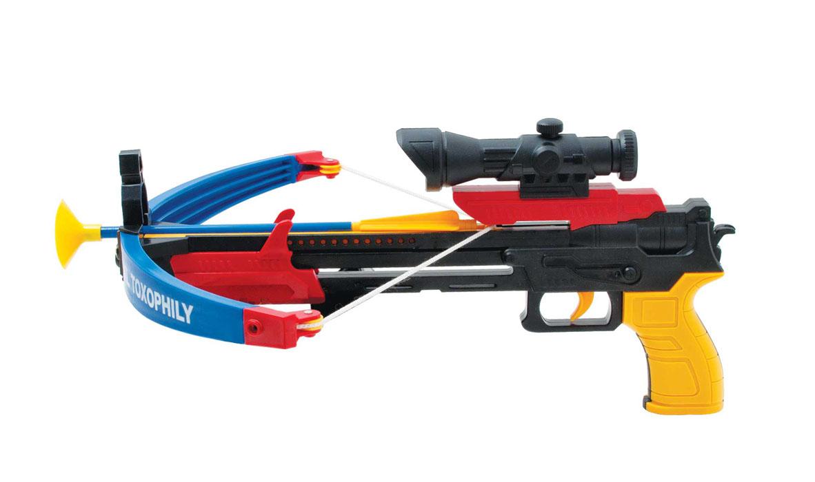 Игрушечный арбалет «Стрела» АК-10MY59366Радиус действия до 10 метров Состав: арбалет, 3 стрелы с присосками, мишень, держатель стрел на ремень