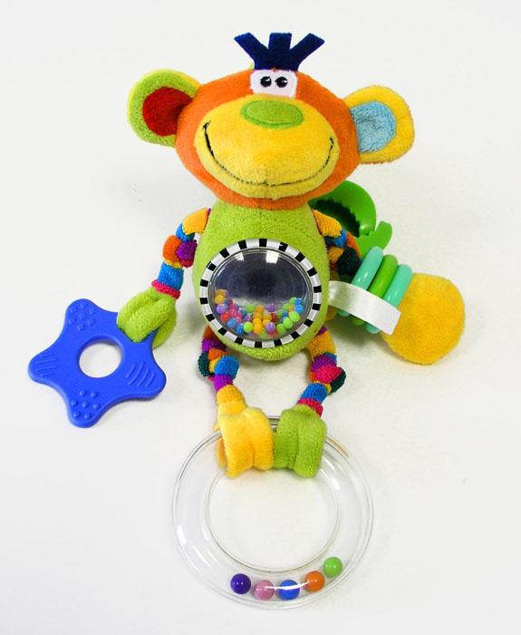 ЦиркPOO0\MМягкая игрушка-подвеска: шуршащие элементы (ушки), 3 погремушки (животик, хвостик, цирковое колечко), прорезыватель, пластмассовые колечки-браслеты, зеркальце, резиночка