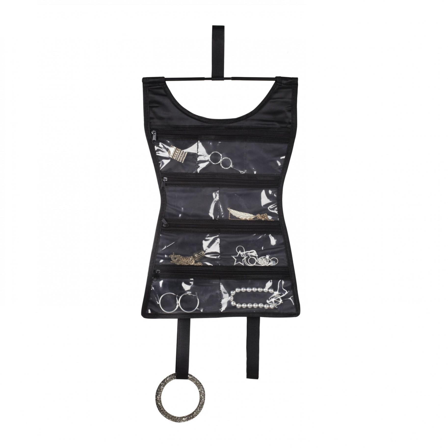 Органайзер для украшений Umbra Mini Dress, цвет: черный, 26,7 см х 40,6 см299038-040Органайзер для украшений Umbra Mini Dress изготовлен из полиэстера черного цвета. 7 прозрачных карманов, закрывающихся на молнию, плюс две петельки для длинных бус и больших браслетов позволят рассортировать самые любимые украшения так, что они всегда будут на виду. Можно повесить органайзер в шкаф, а можно свернуть и положить в чемодан! Просто скатайте его в рулончик и закрепите липучками. Теперь можно быть неотразимой и нарядной в любой точке планеты. Органайзер поможет аккуратно хранить украшения, держать их в порядке, и вы никогда их не потеряете.