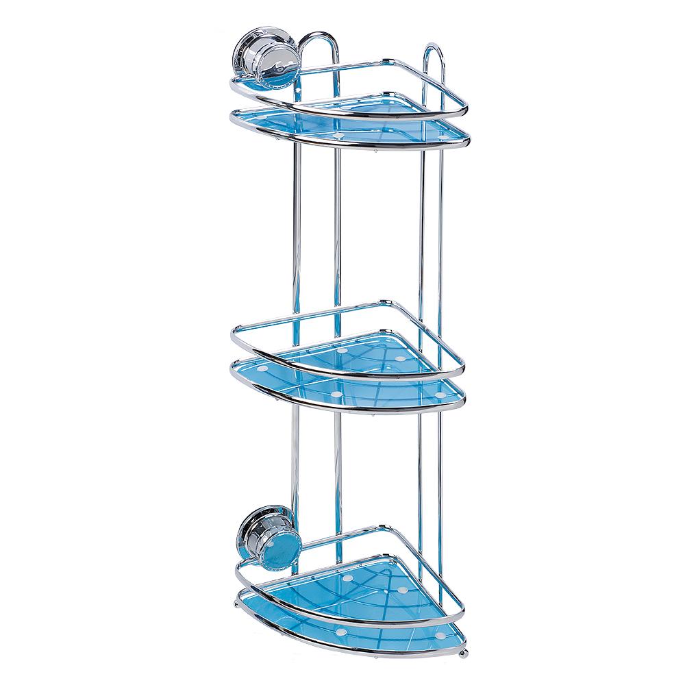 Полка угловая Tatkraft Vacuum Screw Conrad, 3-х ярусная, 17 х 17 х 54 см10697Угловая полка Tatkraft Vacuum Screw Conrad изготовлена из хромированной стали, имеет 3 яруса, отделанных пластиком голубого цвета. Полка предназначена для хранения различных ванных принадлежностей. Крепится к стене при помощи специальной технологии Vacuum Screw HARD (Вакуумный шуруп). Эта первая технология, которая совмещает преимущества двух систем - адгезивной и вакуумной. Подходит только для ровных поверхностей. Вакуум создает мощную прижимную силу, адгезив на молекулярном уровне связывает поверхности за счет проникновения в поверхность крепления. Совместно эти две технологии создают систему, не имеющую аналогов на рынке. Vacuum Screw - это легкая и быстрая установка без сверления на любой воздухонепроницаемой поверхности. Крепление многоразовое - до 1000 установок. Полка выдерживает вес до 8 кг.