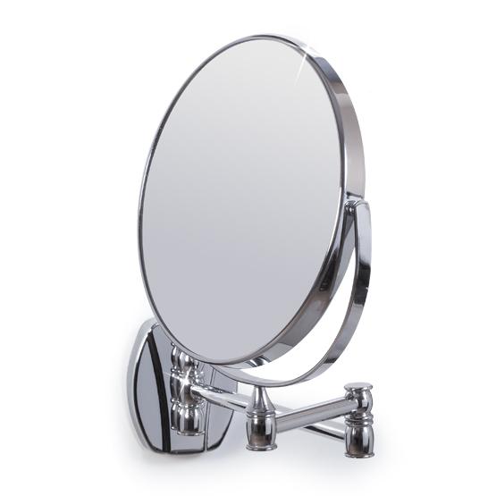 Зеркало настенное Izolde/Изольда, двухстороннее, диаметр 17 см11243Настенное двухстороннее зеркало Izolde в оправе из хромированной стали, оснащено двумя поверхностями, одна из которых дает обычное отражение, другая - с трехкратным увеличением. Благодаря специальной основе на шарнирах и стрежнях, зеркало поворачивается и вращается под любым углом и складывается вплотную к стене. Зеркало Izolde не дает геометрических искажений и имеет влагостойкое покрытие. Такое зеркало станет незаменимым в ванной комнате, или на туалетном столике.