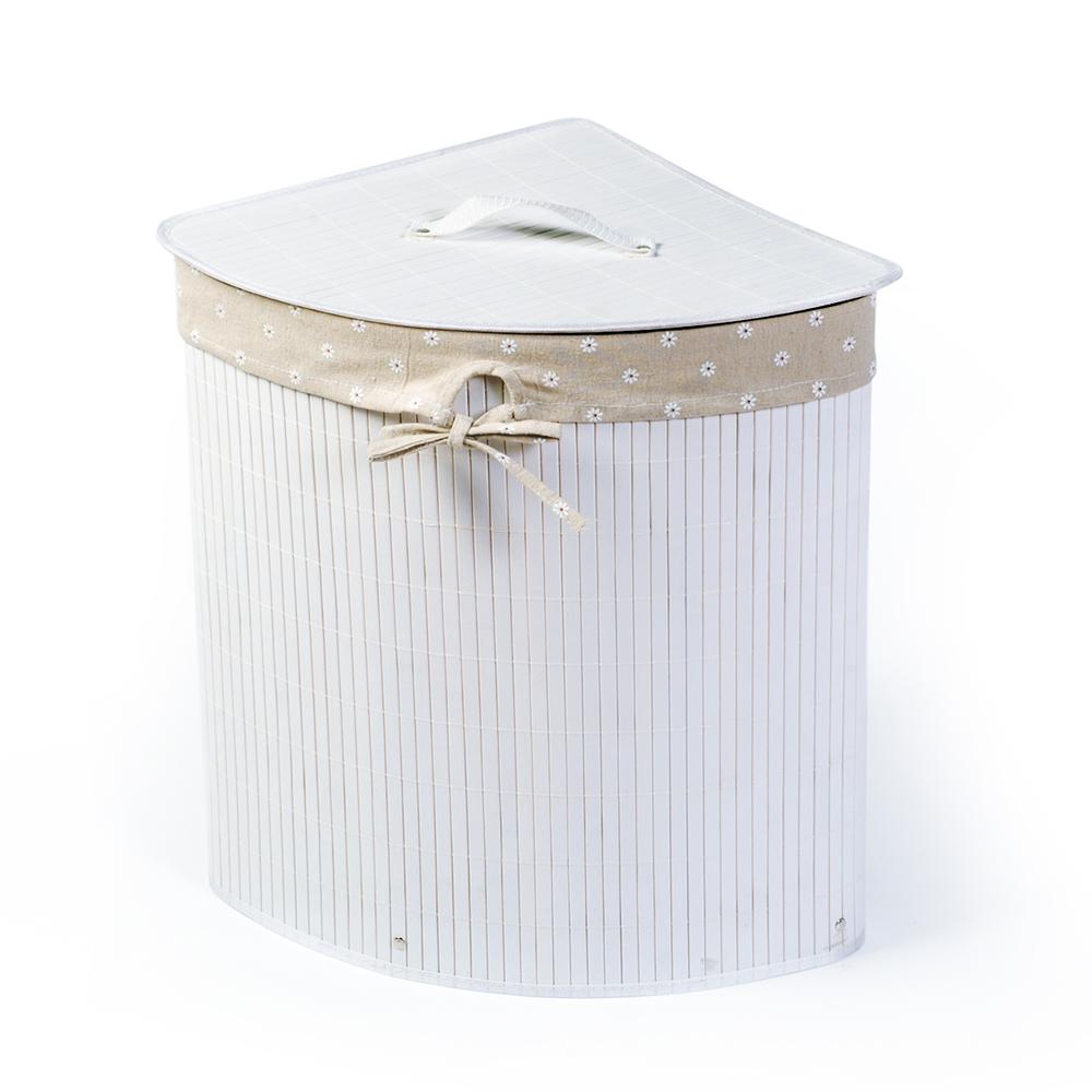 Корзина для белья Tatkraft Virginia, угловая, цвет: белый, 35 х 35 х 50 см 1184711847Уникальная угловая корзина для белья Tatkraft Virginia изготовлена из натурального бамбука и имеет складную конструкцию. Натуральный бамбук обладает рядом положительных качеств: антибактериальный, гипоаллергенный, износостойкий, дезодорирует. Внутренний чехол, изготовленный из натурального хлопка, деликатен к белью. Оригинальная корзина не занимает много места, легко складывается и собирается. Устойчива к влажности и перепадам температур. Можно использовать для хранения белья, детских игрушек, домашней обуви и прочих вещей. Натуральная, бамбуковая корзина Tatkraft Virginia станет нужным и практичным аксессуаром в любой ванной комнате. Объем: 48 л. Размер: 35 см х 35 см х 50 см.