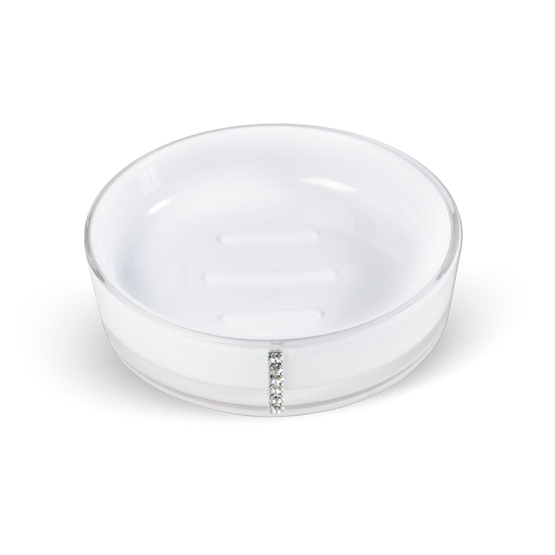 Мыльница Tatkraft Diamond White, цвет: белый12394Круглая мыльница Diamond White выполнена из акрила и украшена стразами. Она имеет ребристое дно, что препятствует скольжению мыла. Такая мыльница станет стильным аксессуаром, который украсит интерьер вашей ванной комнаты. Характеристики: Материал: акрил, стразы. Цвет: белый. Диаметр мыльницы: 11,5 см. Высота мыльницы: 3 см. Размер упаковки: 11,5 см х 11,5 см х 3 см. Артикул: 694727.