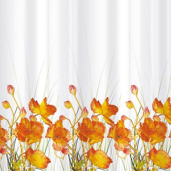 Шторка для ванной Tatkraft French Poppiers, цвет: белый, оранжевый, 180 х 180 см14046Шторка для ванной Tatkraft French Poppiers, изготовленная из Peva - водонепроницаемого, мягкого на ощупь и прочного материала, декорирована ярким рисунком в виде оранжевых маков. Не содержит ПВХ. Шторка быстро сохнет, легко моется и обладает повышенной износостойкостью. В комплекте также имеется 12 овальных колец. Шторка оснащена магнитами-утяжелителями для лучшей фиксации. Шторка для ванной Tatkraft French Poppiers порадует вас своим ярким дизайном и добавит уюта в ванную комнату.