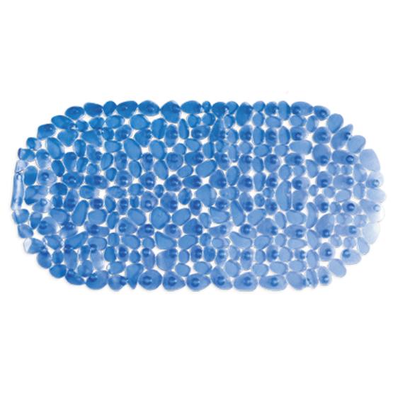 Коврик для ванны Tatkraft Mare, цвет: синий, 68 х 35 см14220Коврик для ванны и душевой кабины Tatkraft Mare, выполненный из винила, оформлен в виде гальки синего цвета. Противоскользящий коврик для ванны - это хорошая защита детей и взрослых от неожиданных падений на гладкой мокрой поверхности. Коврик очень плотно крепится ко дну множеством присосок, расположенных по всей изнаночной стороне. Отверстия, предназначенные для пропуска воды, способствуют лучшему сцеплению с поверхностью, таким образом, полностью, исключая скольжение. Принимая душ или ванную, постелите противоскользящий коврик. Это особенно актуально для семьи с маленькими детьми и пожилыми людьми. Характеристики: Материал: винил. Цвет: синий. Размер: 68 см х 35 см. Артикул: 14220.