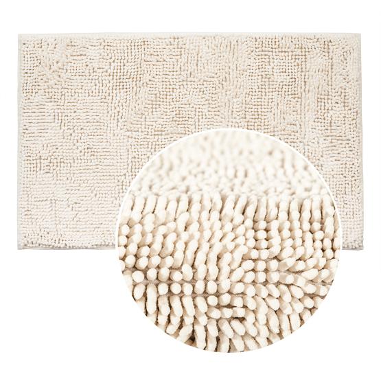 Коврик для ванной комнаты Tatkraft, цвет: белый, 50 х 80 см 1428214282Коврик для ванной комнаты Tatkraft выполнен из шенилла белого цвета с длинным ворсом. Мягкий и приятный на ощупь коврик обладает высокой износостойкостью, а также имеет нескользящую подложку. Специальная технология создает эффект игры оттенков цвета. Шенилл в переводе с французского chenille - гусеница. Шенилл - плотная, прочная ткань, имеющая очень сложную структуру по способу переплетения нитей, что делает ткань практически нерастяжимой, придает ей плотность и прочность. Пушистость шенилловой нити придает ткани необыкновенную мягкость. На такой ткани не образуются катышки, она всегда остается приятной на ощупь. Коврик для ванной комнаты Tatkraft не только сделает комфортным ваше пребывание в ванной, но и стильно украсит интерьер. Можно стирать в стиральной машине: не теряет форму и цвет.