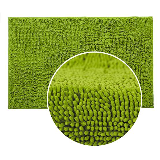 Коврик для ванной комнаты Tatkraft Erik, цвет: светло-зеленый, 50 х 80 см14558Коврик для ванной комнаты Tatkraft Erik выполнен из шенилла с длинным ворсом. Мягкий и приятный на ощупь коврик обладает высокой износостойкостью, а также имеет нескользящую основу. Специальная технология создает эффект игры оттенков цвета. Шенилл в переводе с французского chenille - гусеница. Шенилл - плотная, прочная ткань, имеющая очень сложную структуру по способу переплетения нитей, что делает ткань практически нерастяжимой, придает ей плотность и прочность. Пушистость шенилловой нити придает ткани необыкновенную мягкость. На такой ткани не образуются катышки, она всегда остается приятной на ощупь. Коврик для ванной комнаты Tatkraft Erik не только сделает комфортным ваше пребывание в ванной, но и стильно украсит интерьер. Можно стирать в стиральной машине: не теряет форму и цвет.