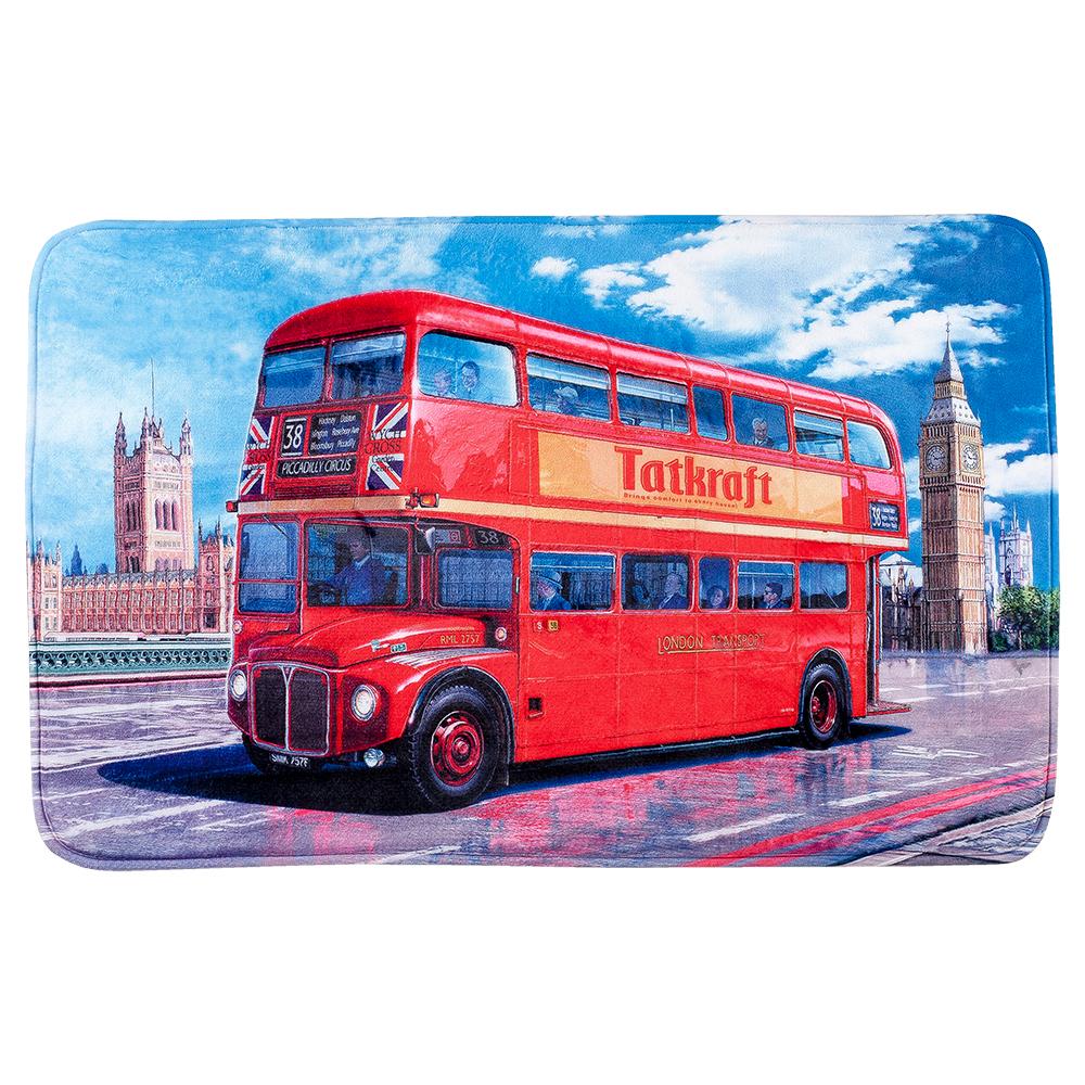 Коврик для ванной комнаты Tatkraft London Bus, 50 см х 80 см14978Коврик для ванной комнаты Tatkraft London Bus изготовлен из микрофибры - мягкого приятного на ощупь материала. Коврик отлично поглощает и впитывает влагу. Основание противоскользящее. Яркий красочный рисунок в виде двухэтажного красного автобуса внесет оригинальную нотку в интерьер ванной комнаты. Коврики Tatkraft - прекрасное решение для ванной комнаты.