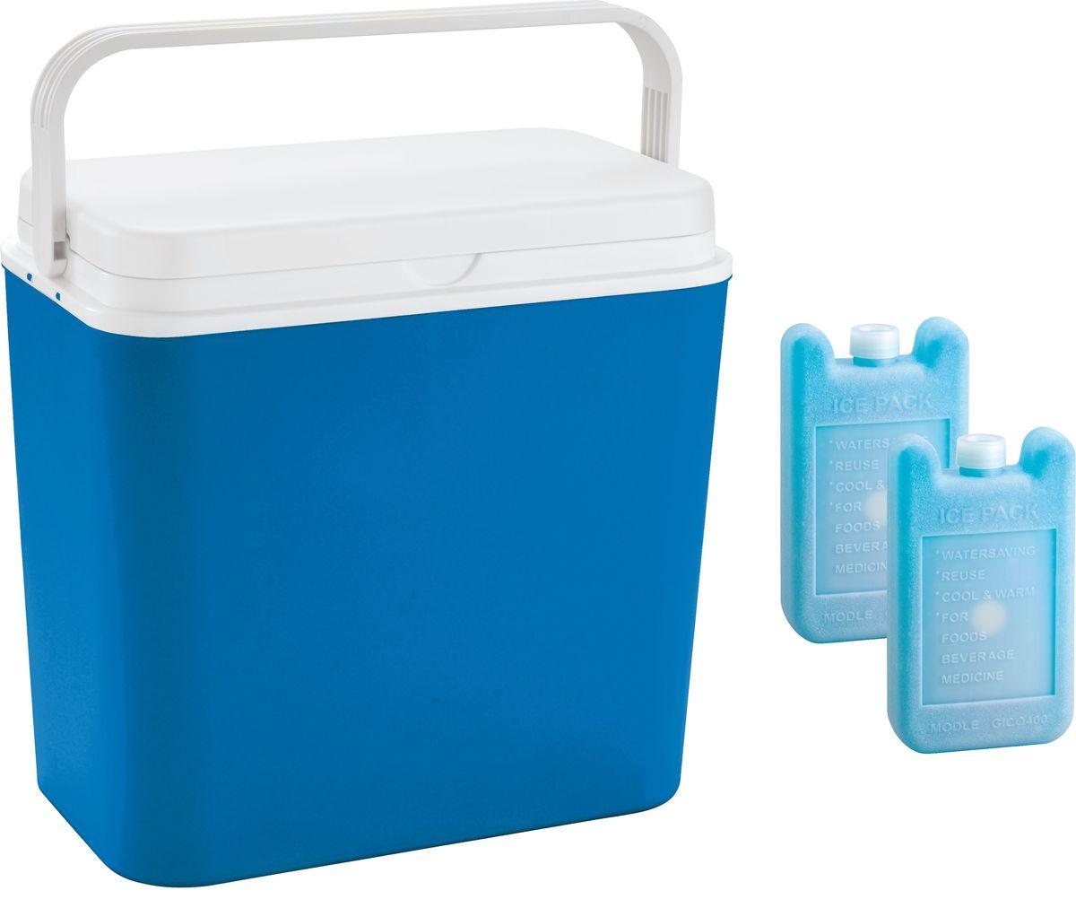 Контейнер изотермический Atlantic Cool Box, цвет: синий, 24 л + аккумулятор холода, 2 х 400 г3702Легкий и прочный изотермический контейнер Atlantic Cool Box предназначен для сохранения определенной температуры продуктов во время длительных поездок. Корпус и крышка контейнера изготовлены из высококачественного пластика. Между двойными стенками находится термоизоляционный слой, который обеспечивает сохранение температуры. Крышку можно использовать в качестве столика или подноса. Ручка служит фиксатором крышки, которая закрывается очень плотно. К контейнеру прилагается два аккумулятора холода по 400 г каждый. При использовании аккумулятора холода контейнер обеспечивает сохранение продуктов холодными до 12 часов. Температурный режим эксплуатации: от -30°C до +60°C. Контейнер идеально подходит для отдыха на природе, пикников, туристических походов и путешествий. Объем контейнера: 24 л. Размер контейнера: 39 см х 38 см х 22 см.