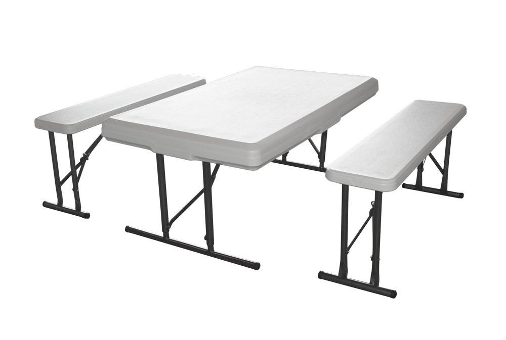 Набор мебели Green Glade, 3 предметаB113Набор мебели Green Glade предназначен для создания комфортных условий в туристических походах, охоте, рыбалке, кемпинге, а также на дачных участках. В набор входит стол и 2 скамейки. Каркас мебели выполнен из прочной стали. Размер скамейки: 113 см х 68 см х 72,5 см. Размер скамеек: 95 см х 23 см х 42 см. Толщина скамеек: 4,2 см.