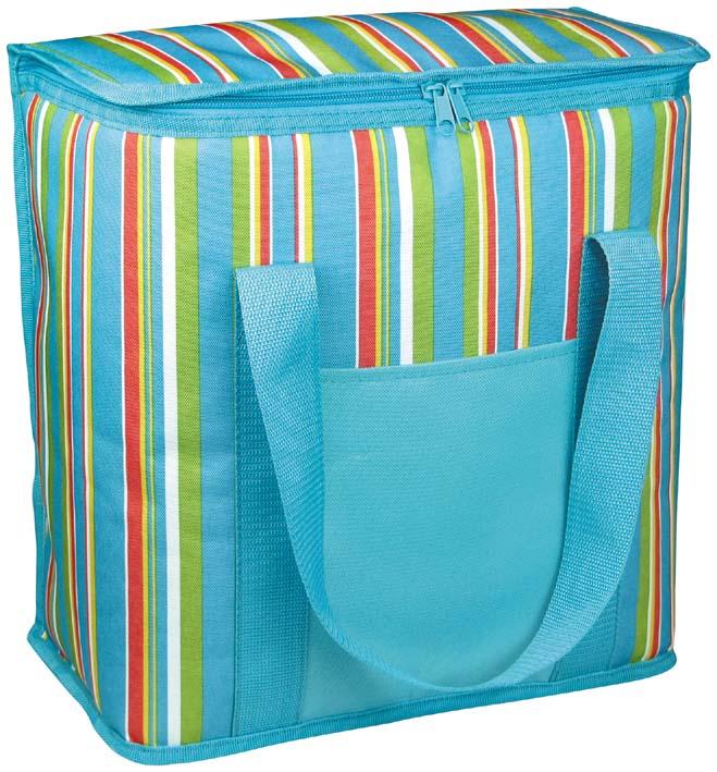 Термосумка Green Glade, цвет: голубой, 12 л. Р1012Р1012Изотермическая термосумка Green Glade пригодится на любом пикнике. Изнутри термосумка отделана специальным теплоизолирующим материалом, способным надолго сохранить холод, даже в жару. Сохранение температурного режима до 12 часов. Снаружи сумка изготовлена из плотного полиэстера с принтом в разноцветную вертикальную полоску. Достаточно вместительна, подходит для хранения и пищи, и напитков. Имеет одно основное отделение, закрывающееся на молнию. Спереди содержится открытый кармашек для хранения салфеток. Для удобной переноски сумка оснащена двумя ручками. Сумка идеально подходит для отдыха на природе, пикников, туристических походов и путешествий. Объем: 12 л.