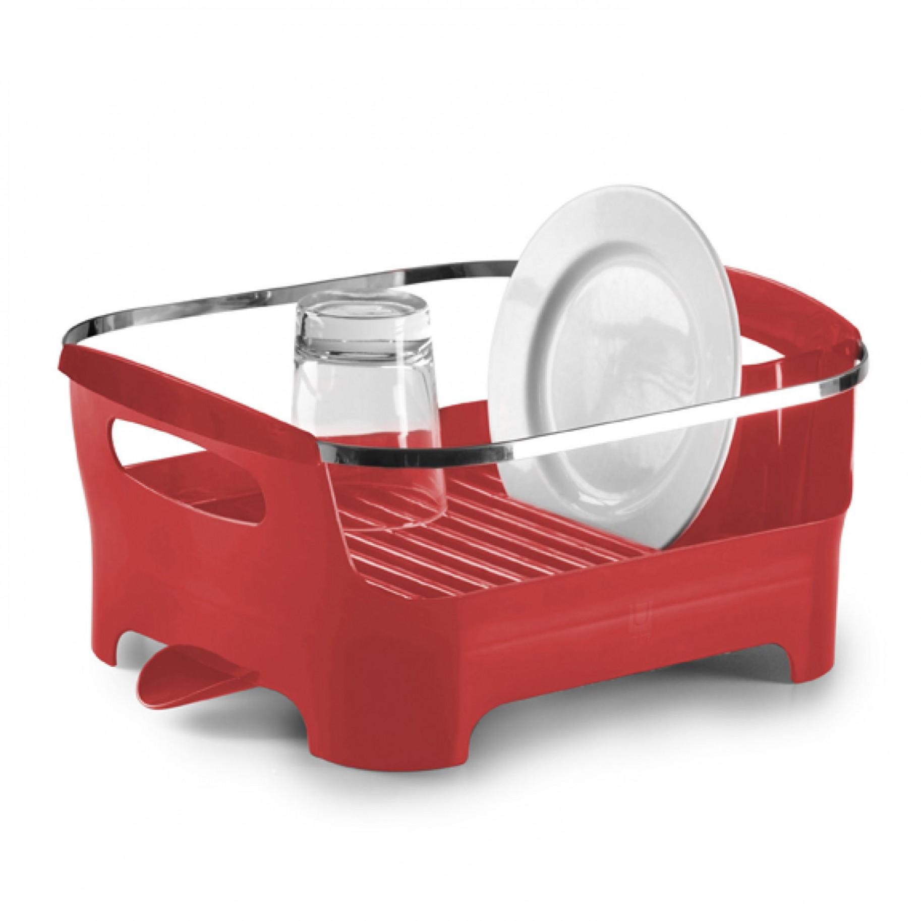 Сушилка для посуды Umbra Basin, цвет: красный, 38 х 33 х 17 см330591-505Сушилка для посуды Umbra Basin изготовлена из высококачественного пластика без содержания вредного бисфенола. Компактный дизайн изделия создает большое пространство для хранения и сушки посуды. Пространство для посуды ограждено бортиком, в котором есть удобные ручки для переноски, а главное, тарелки случайно не выпадут и не разобьются. Вода со свежевымытой посуды через желобки для тарелок стекает вниз, в специальное отделение, где собирается и выводится через носик на боку сушилки. Вы можете поставить ее в раковину или на рабочую поверхность рядом. Размер сушилки: 38 см х 33 см х 17 см.