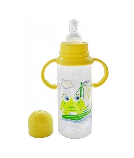 Бутылочка полипропиленовая с ручками и силиконовой соской,250 мл11113Бутылочка произведена из полипропилена - термостойкого небьющегося пластика, не вступающего в химическую реакцию с молоком и не выделяющего вредных веществ при стерилизации.