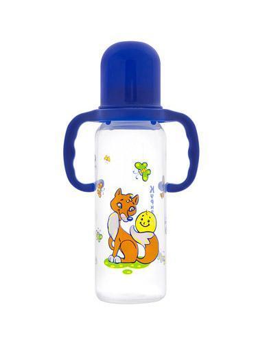 Бутылочка полипропиленовая с ручками, с силиконовой соской