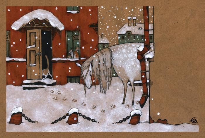 Открытка Снегопыт. Из набора Про Лошадь. Автор Катя БауманBE10-001