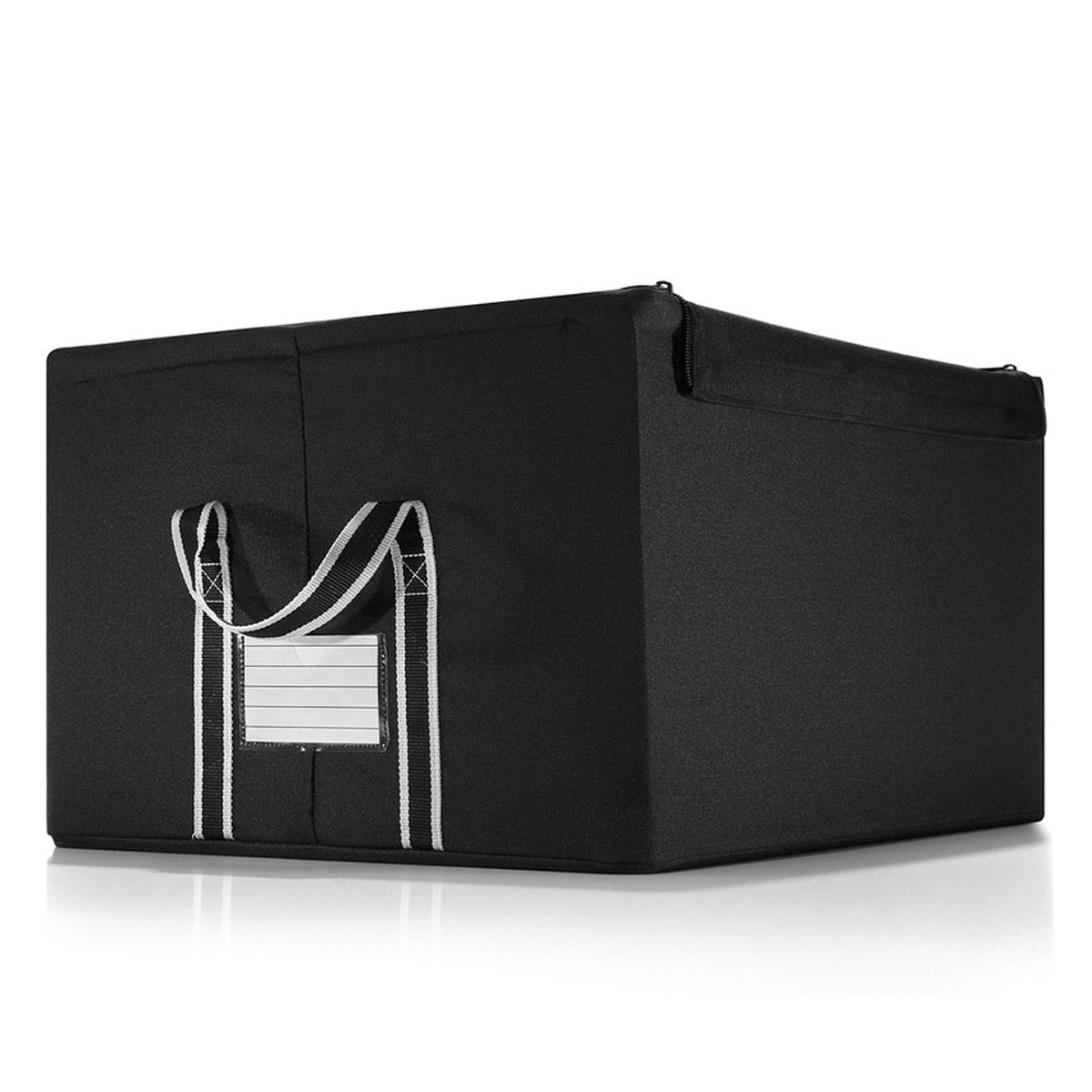 Коробка для хранения Reisenthel Storagebox, большая, цвет: черныйFT7003Универсальная коробка из полиэстера, пригодится для хранения сезонной одежды и обуви, аксессуаров, старых дневников и открыток, канцелярских и других мелочи. Телескопический проволочный каркас и жесткое днище обеспечивают стабильность и устойчивость коробки. По бокам коробки две ручки для удобства переноски. Также можно подписать лейбл, с указанием содержимого коробки. Объем коробки: 60 л. Максимальная нагрузка: 20 кг. Размер коробки: 51 см х 29,5 см х 41 см.