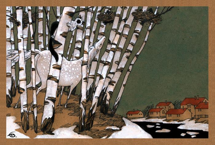 Открытка Грачи прилетели. Из набора Про Лошадь. Автор Катя БауманBE10-003Оригинальная дизайнерская открытка Грачи прилетели из набора «Про лошадь» выполнена из плотного матового картона. На лицевой стороне расположена репродукция картины художника Екатерины Бауман. На задней стороне имеется поле для записей. Такая открытка станет великолепным дополнением к подарку или оригинальным почтовым посланием, которое, несомненно, удивит получателя своим дизайном и подарит приятные воспоминания.