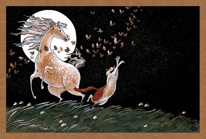 Открытка Танцы полной луны. Из набора Про Лошадь. Автор Катя БауманBE10-005Оригинальная дизайнерская открытка Танцы полной луны из набора «Про лошадь» выполнена из плотного матового картона. На лицевой стороне расположена репродукция картины художника Екатерины Бауман. На задней стороне имеется поле для записей. Такая открытка станет великолепным дополнением к подарку или оригинальным почтовым посланием, которое, несомненно, удивит получателя своим дизайном и подарит приятные воспоминания.