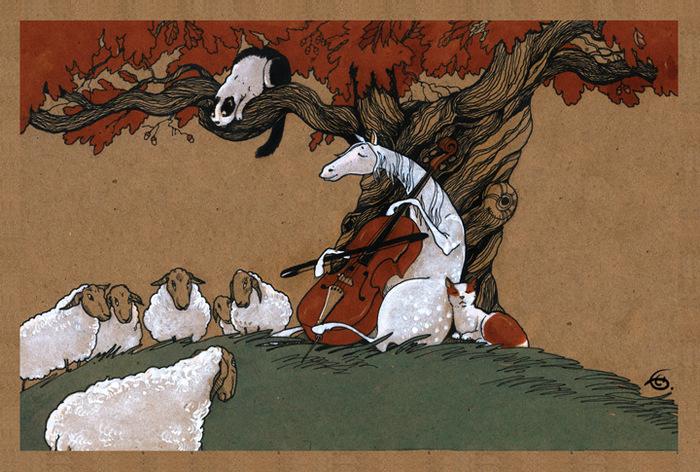 """Открытка """"Сюита для виолончели № 1"""" . Из набора """"Про Лошадь"""" . Автор Катя Бауман"""