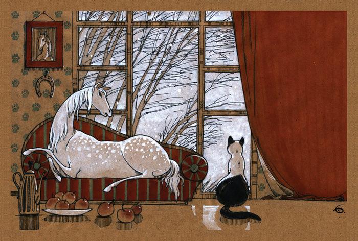 Открытка Завтра — зима. Из набора Про Лошадь. Автор Катя БауманBE10-011Оригинальная дизайнерская открытка Завтра - зима из набора «Про лошадь» выполнена из плотного матового картона. На лицевой стороне расположена репродукция картины художника Екатерины Бауман. На задней стороне имеется поле для записей. Такая открытка станет великолепным дополнением к подарку или оригинальным почтовым посланием, которое, несомненно, удивит получателя своим дизайном и подарит приятные воспоминания.