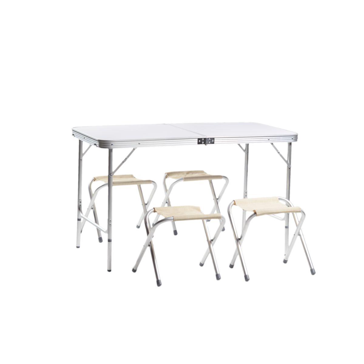 Набор мебели для пикника Green Glade М5102, 5 предметовМ5102Набор мебели Green Glade М5102 предназначен для создания комфортных условий в туристических походах, охоте, рыбалке и кемпинге. Особенности: Компактная складная конструкция. Прочный алюминиевый каркас 24 мм. Материал столешницы - МДВ. Удобная ручка для переноски. Сложенный стол можно использовать в качестве чемодана для переноски стульев. В комплекте 4 стальных кемпинговых стула. Размер стола: 120 см х 60 см х 70 см. Размер стульев: 29 см х 27 см х 37 см.